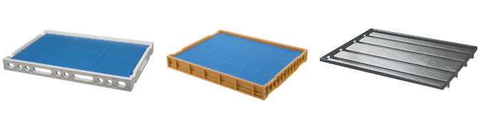 Set of draining trays : plastic, steel and aluminum